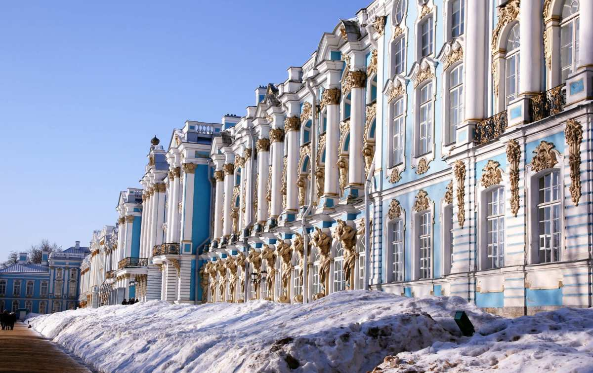 The magnifcent Baroque facade of the Catherine Palace in Tsarskoye Selo, the summer residence of the Russian Tsars