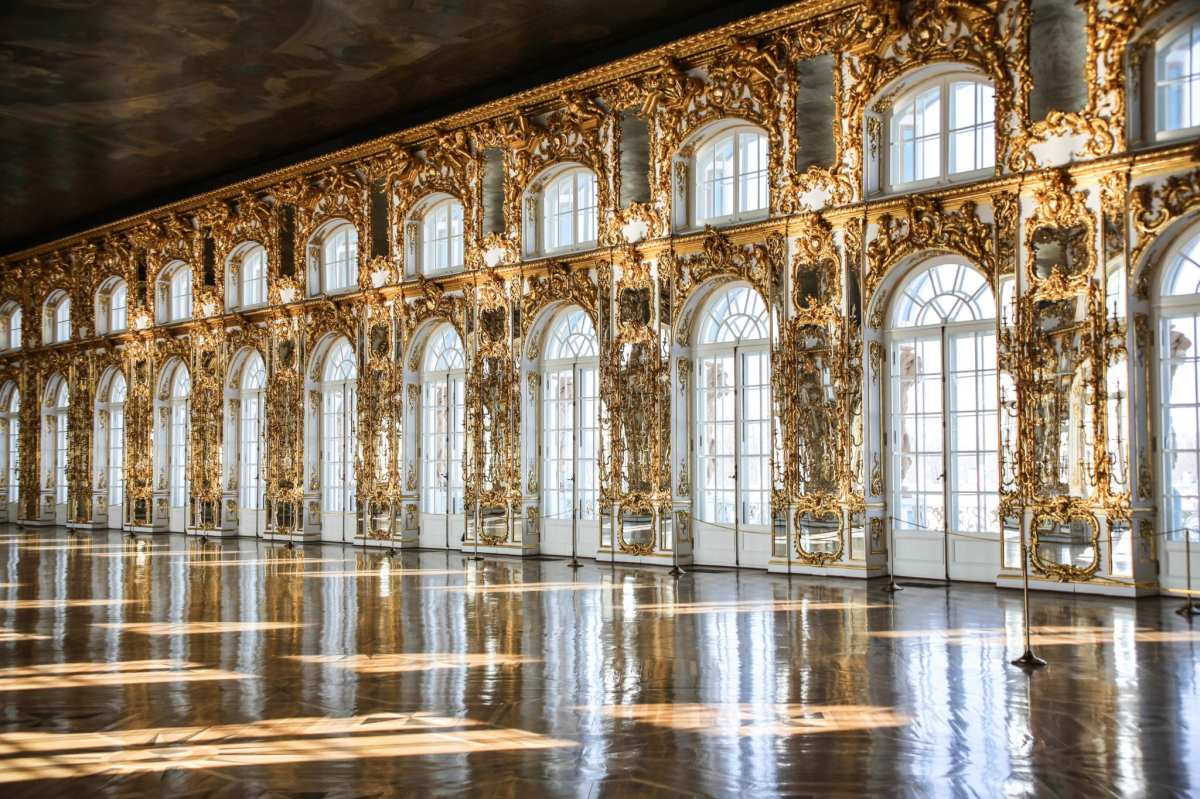 The ballroom of the Catherine Palace at Tsarksoye Selo, the summer residence of the Russian tsars