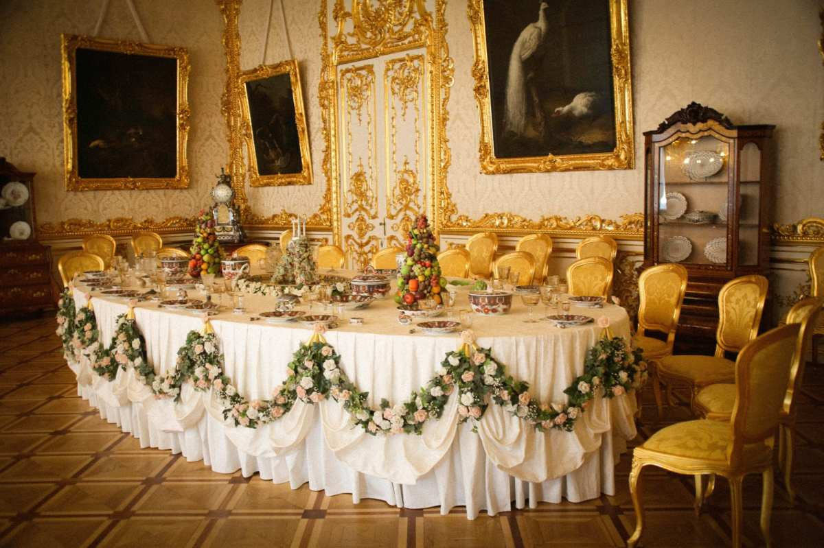 The White State Dining room in the Catherine Palace at Tsarskoye Selo, the summer residence of the Russian Tsars