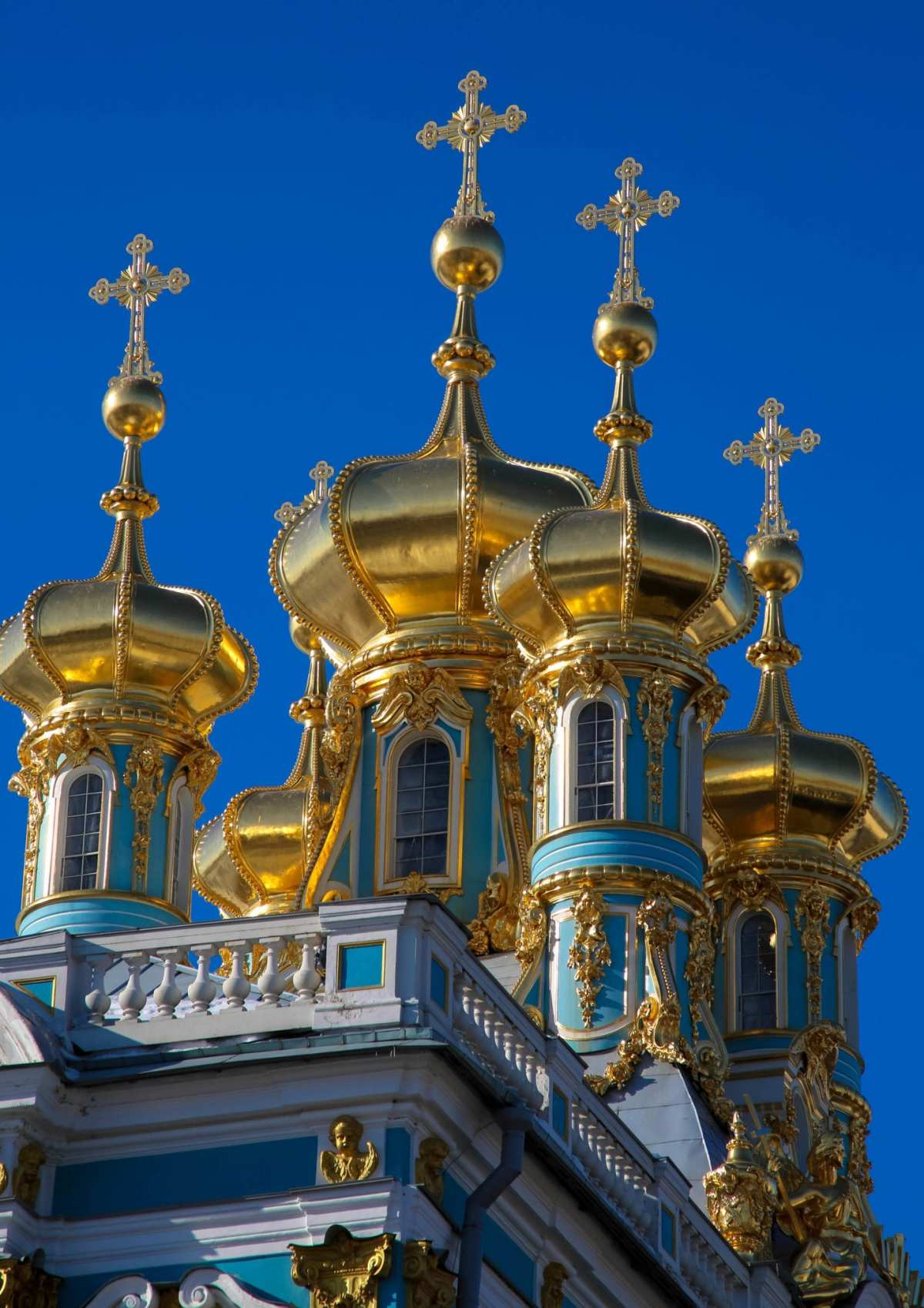 Golden Domes of the imperial chapel at the Catherine Palace at Tsarskoye Selo, the summer residence of the Russian Tsars