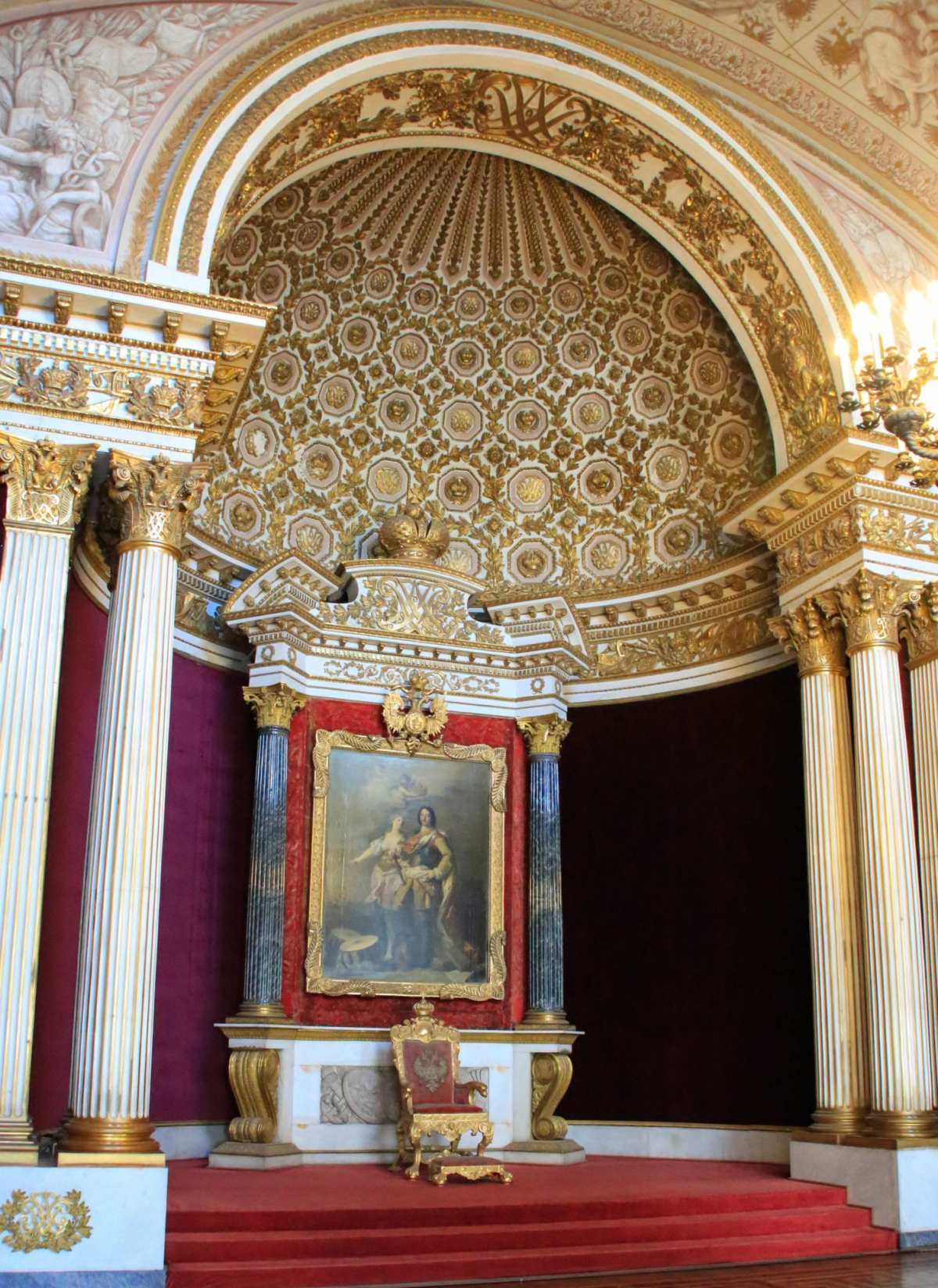 The imperial throne of Russia's tsars, under the portrait of Peter the Great, founder of St. Petersburg