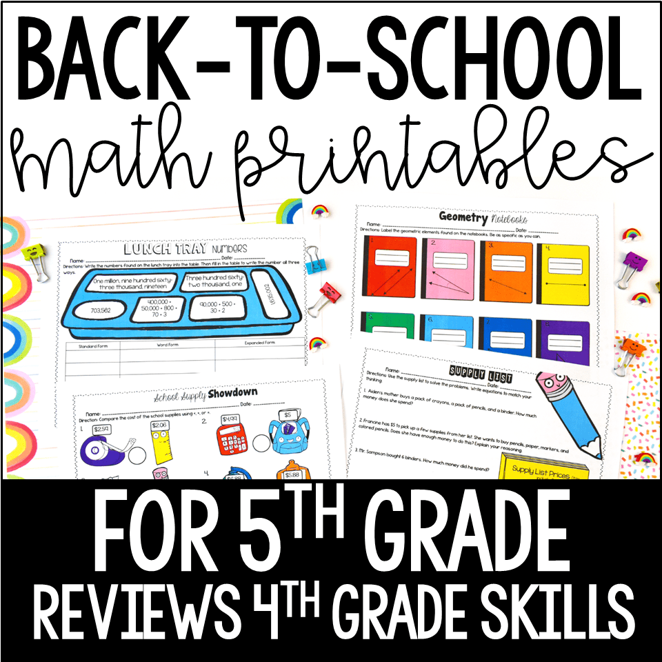 hight resolution of Free Back to School Activities for Grades 3-5