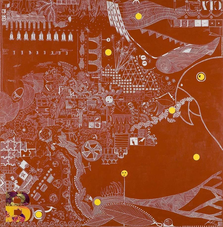 FABULA IN ARANCIO DI MARTE olio acrilio collage dim 61 x 62 anno 2006