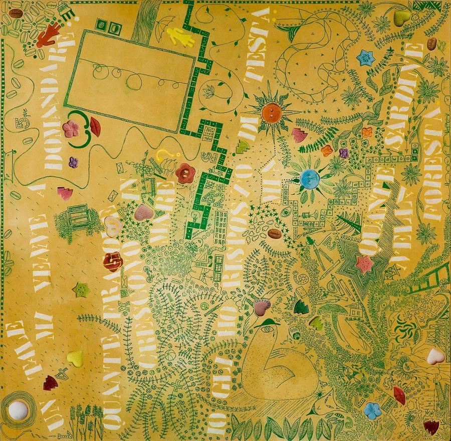 FABULA IN GIALLO olio acrilico collage dim 61 x 62 anno 2006