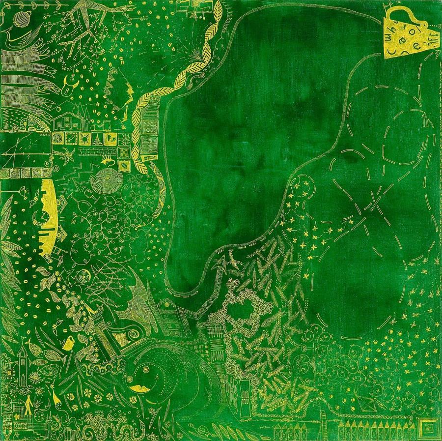 FABULA ESTIVA alio acrilico dim 61 x 62 anno 2006