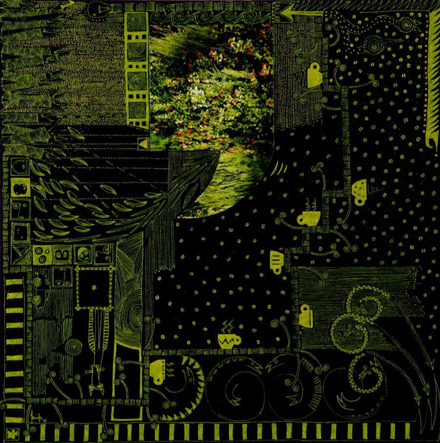 PAUSA 2 acrilico collage dim 42 x 42 anno 2007