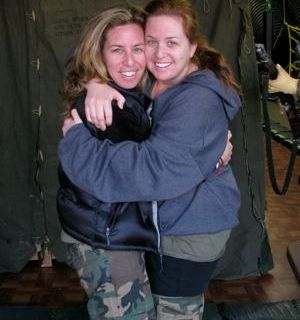 2008. In fatigues. my sister and me.