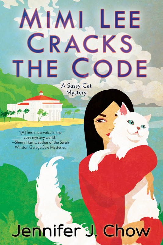 Cover of Mimi Lee Cracks the Code: Mimi Lee holding cat Marshmallow on Catalina Island