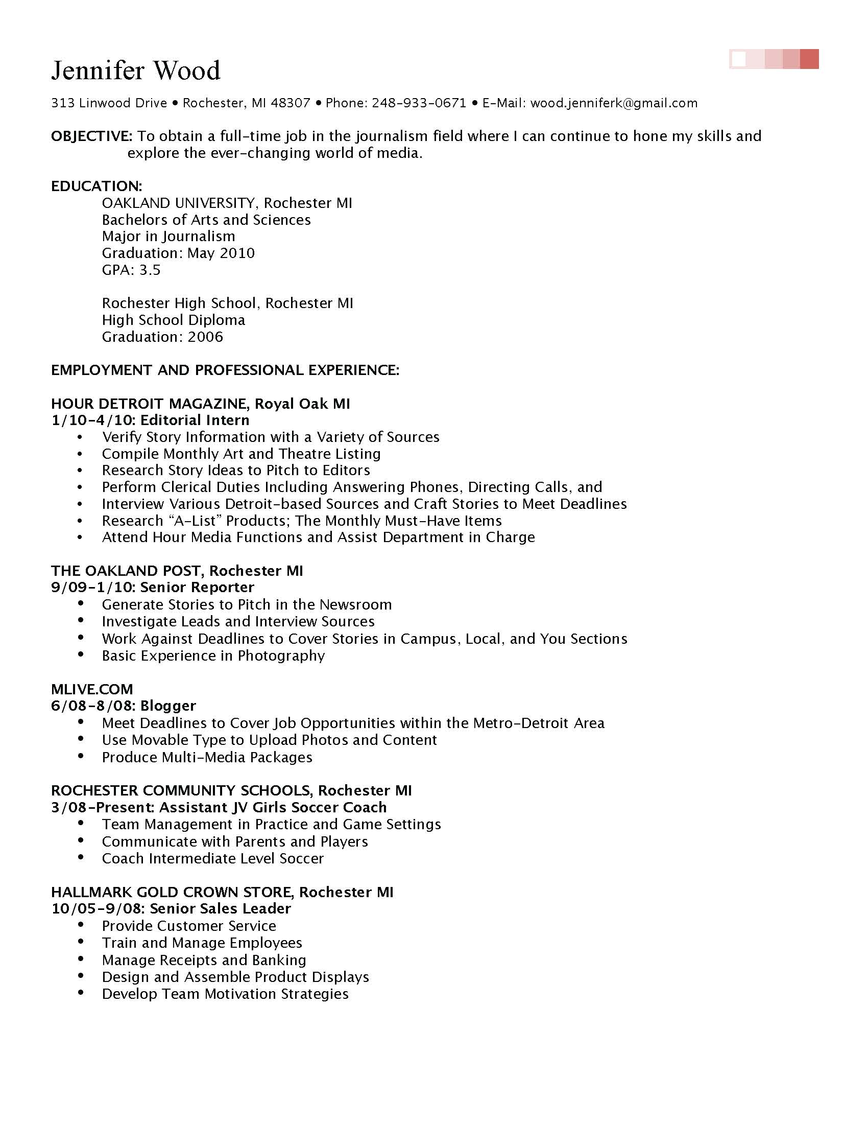 Filled Out Resume Examples
