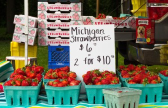 Strawberries for sale at the Brookfield farmers market.