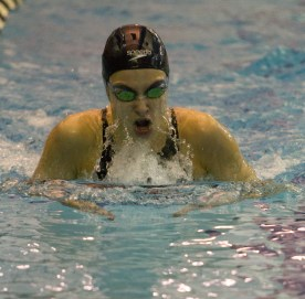 OPRF sophomore Alexandra Gill competes in the 200-yard at the IHSA Girls Sectional on Nov. 14, 2015 at Fenwick High School.