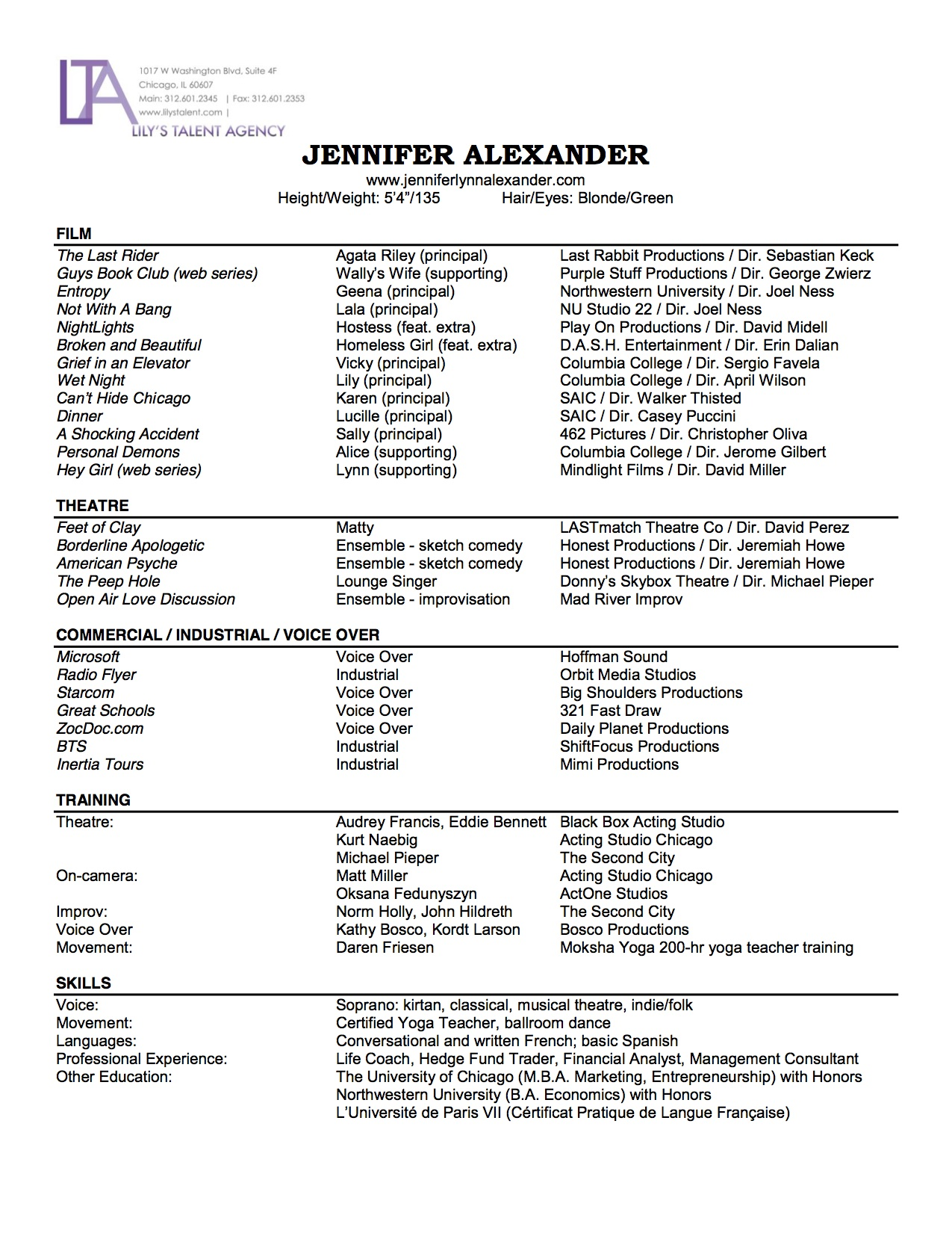 Resume Jennifer Alexander Actress Voice Artist .
