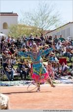 Phoenix, Arizona, USA. 14th February, 2016. Celina Cada-Matasawagon competes in the second round of the 27th Annual World Championship Hoop Dance Contest. © Jennifer Mack/Alamy Live News