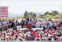 Fountain Hills, Arizona, USA. 19th March, 2016. Large crowds and groups of protesters gathered for a Donald Trump campaign rally at Fountain Park. Protesters were able to temporarily block the roads leading to the event. Several were arrested. © Jennifer Mack/Alamy Live News