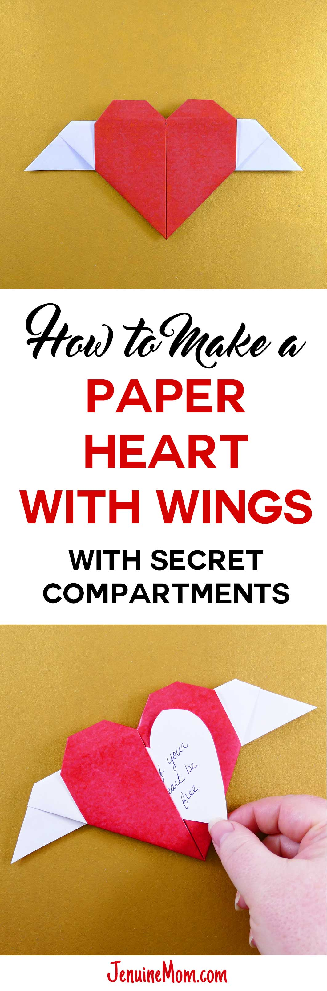 Diy Paper Winged Heart With Hidden Message