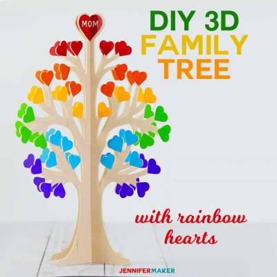 3D Family Tree from Wood or Paper | #cricutmaker #basswood #rainbow #diy