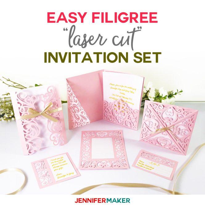 Diy Wedding Invitation Templates Free Laser Cut Set