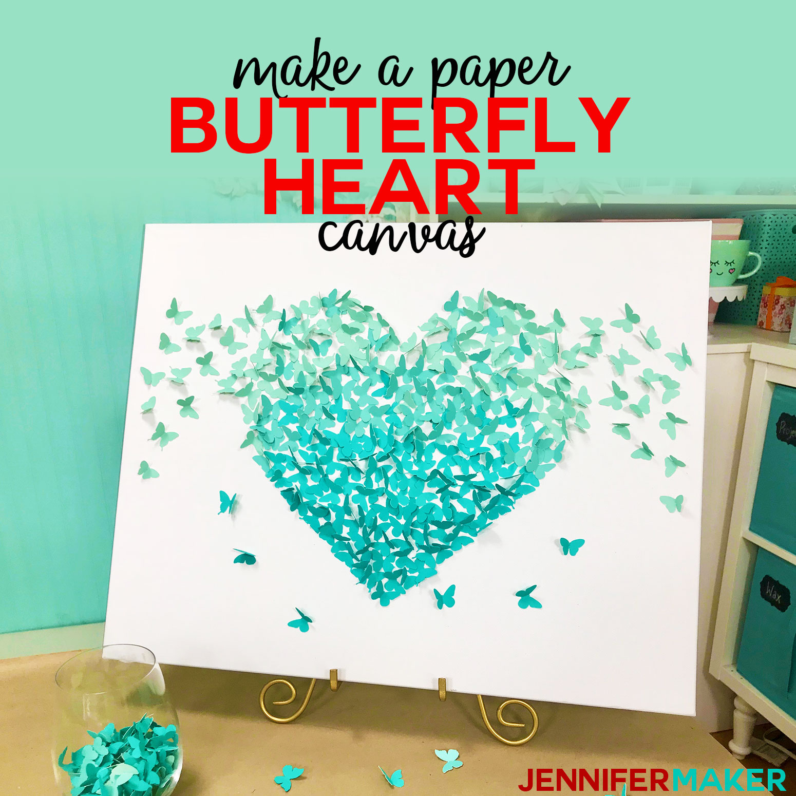 Paper Butterfly Canvas Wall Art Heart On Cricut Jennifer Maker
