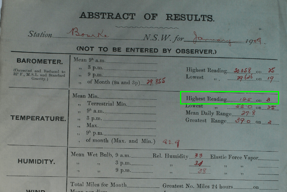 Exhibit 2. 'Abstract of Results' page from the log book. Photograph taken by Jennifer Marohasy at the National Archives of Australia, Chester Hill reading room on 26 June 2014.