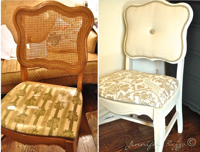 Modernizing an old caneback chair with tufting