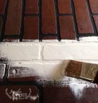 Faux brick wall fireplace mantel backdrop - Jennifer Rizzo