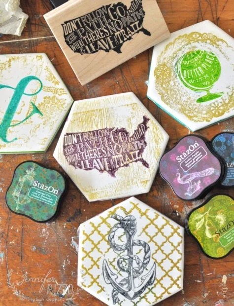 Hand stamped tile coasters