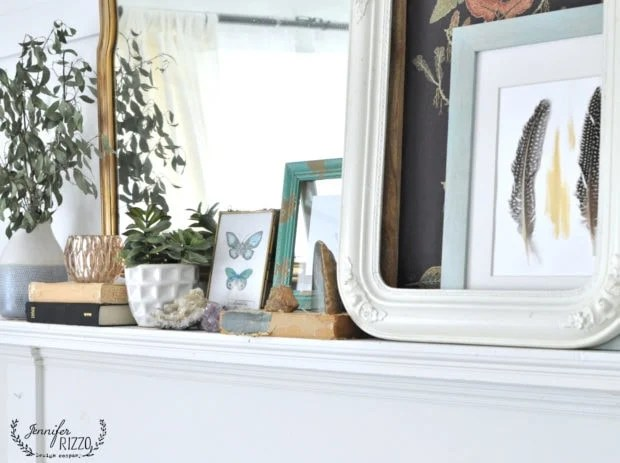 Boho natural fireplace mantel idea for Spring and summer