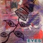 ATC Mixed-Media Original Artwork by Jennifer Shipley, Acrylic, Collage, Gesso Transfer, Ink Drawing