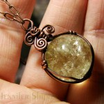 Untreated Genuine Citrine Wire Wrapped Pendant
