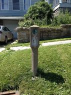 Here's one of those rare 1928 concrete Lincoln Highway markers at the eastern end of Stoystown, PA. Once there were around 3,000 across the United Sates, about a mile apart from each other. In Pennsylvania, only a handful have survived. (Photo by Jennifer Sopko)