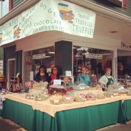 The lovely ladies at the Ligonier Sweet Shop, located on the southwest corner of the Diamond. The shop's awning protected us and all of the goodies from the rain during Fort Ligonier Days weekend. (Photo by Jennifer Sopko)