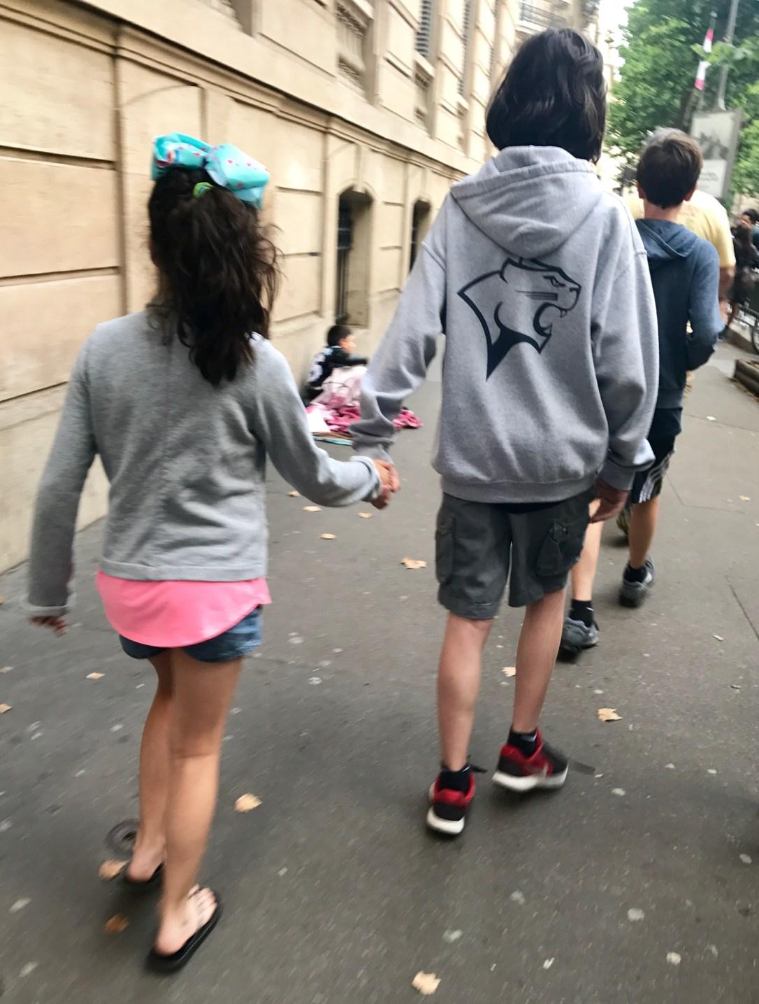 kids walking in paris