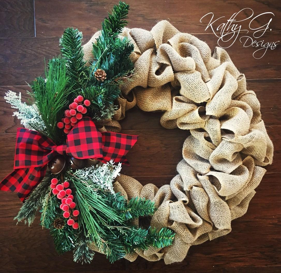 Kathy G plaid xmas wreath