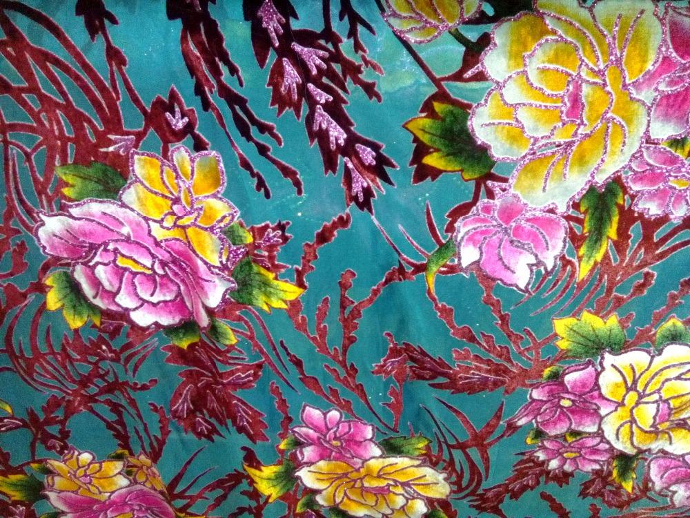 Seide-samt-Stoff-Handcut-Baumwolle-Stoff-Samt-Satin-Materialien-Jacquard-Brokat-blau-blumen-gedruckt-mit-wei