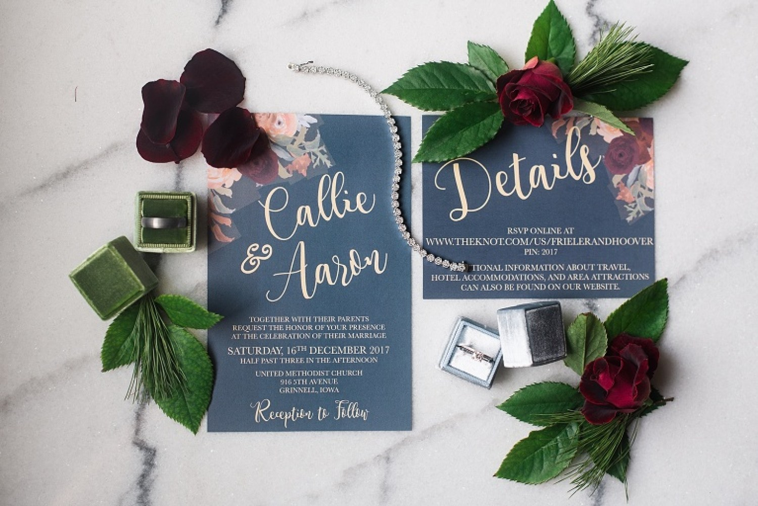 aaron,callie,grinnell,wedding, hotel grinnell, blue wedding invitations