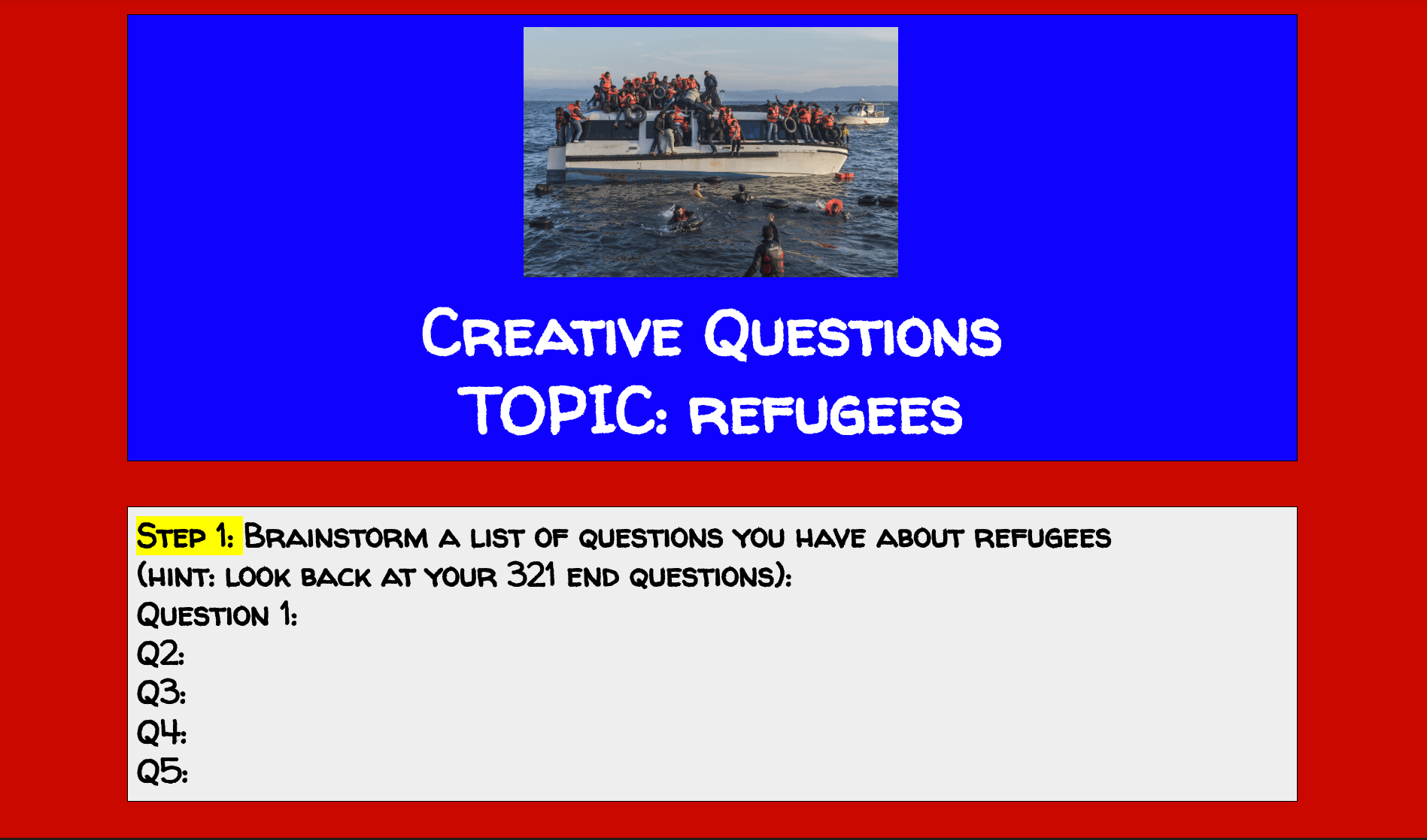 refugee creative questions thinking
