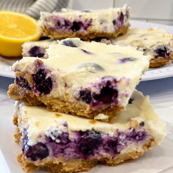 Lightened Lemon Blueberry Cheesecake Bars