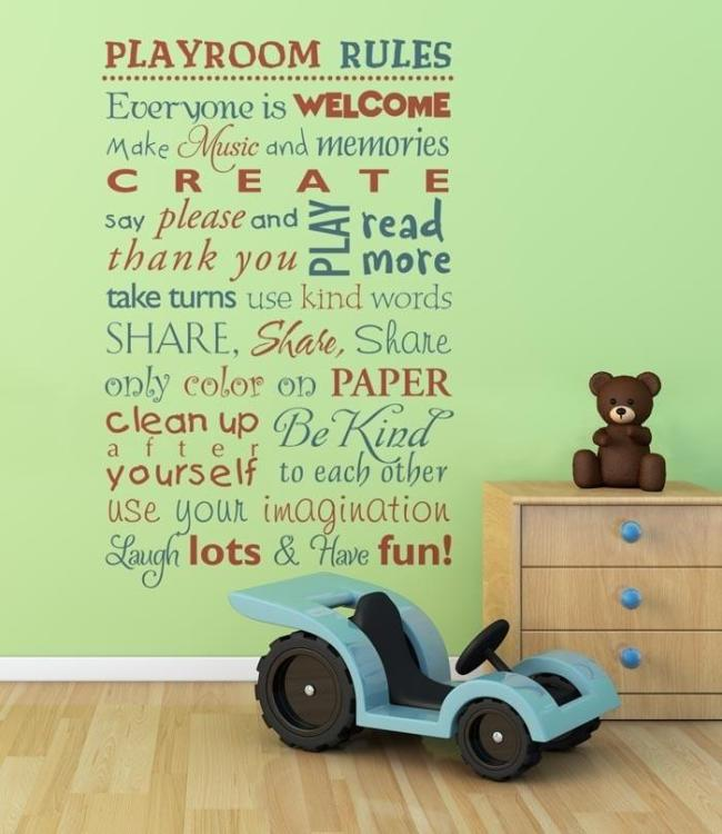 Quote on green wall in kids bedroom