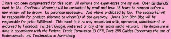 Jenns Blah Blah Blog Giveaway Disclosure US NonSponsor