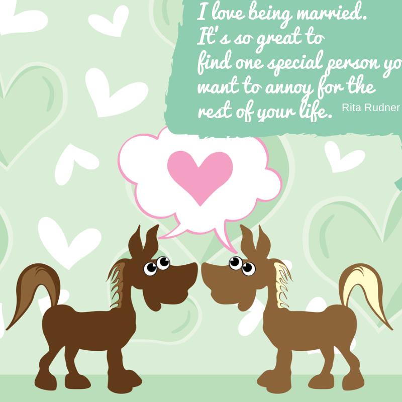 Funny Quotes about love for Valentine's Day two horses in love with quote in upper right hand corner of image