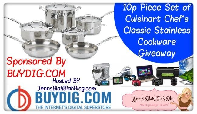 giveaway button with buydig.com 10 piece set of  Cuisinart Chef's Classic Stainless Cookware