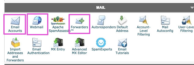 "we'll be working with ""email accounts"" ""webmail"" and ""autoforwarders"" under the Mail section in cPanel"