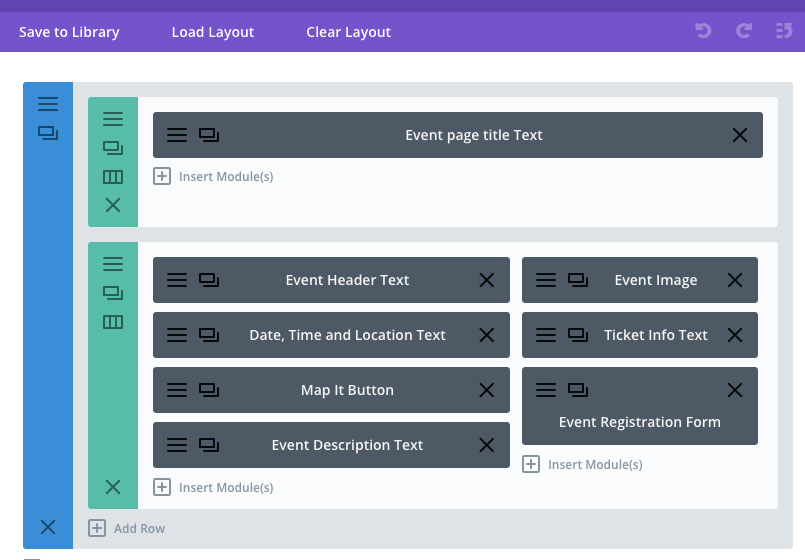 Using the divi module library to create an events page