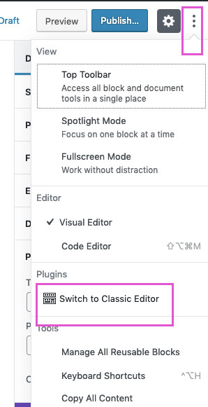 clicking on the top right column of dots will open up editing options for your content