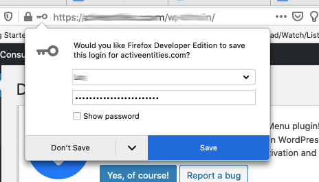 browser asking if you want to save your login