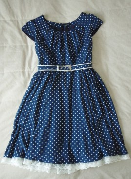 Blue Dotty Dress, blue belt