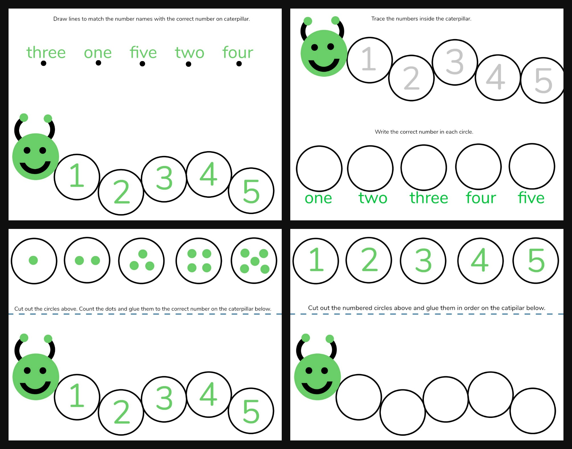 Caterpillar Math Free Printable Preschool Worksheets