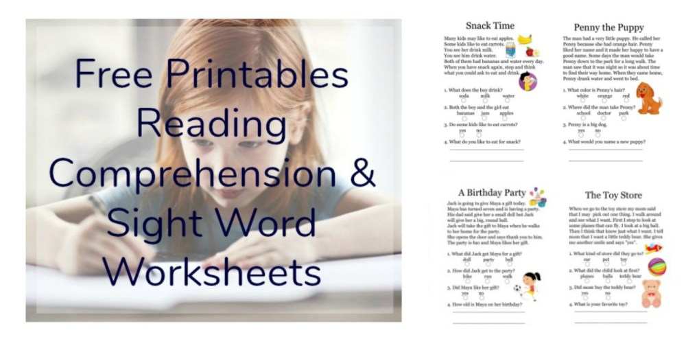 medium resolution of Free Printables Reading Comprehension Sheets with 1st Grade Sight Words •