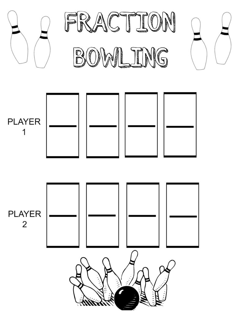 Fractions Bowling Game with Free Printable