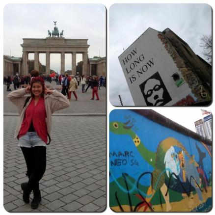 L: At Berlin's famous Brandenburg Gate, now one of the most famous landmarks of Germany.